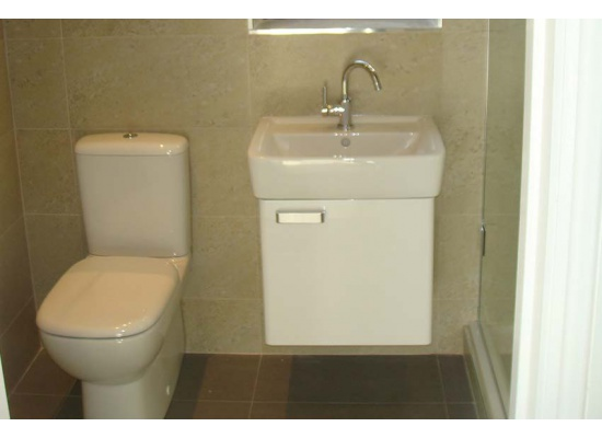 white toilet and sink