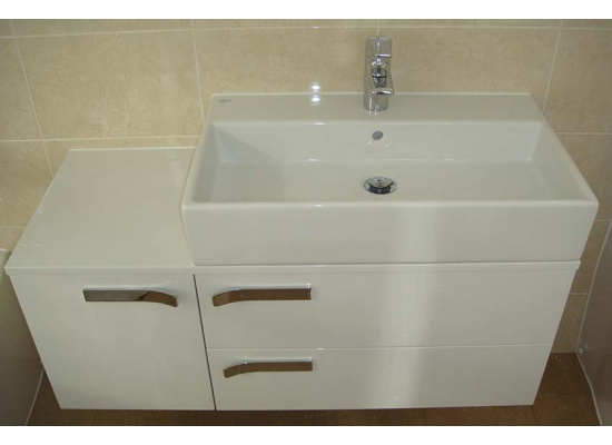white sink and unit