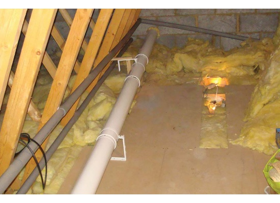 Attic insulation around pipe