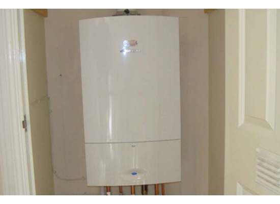 White boiler installation